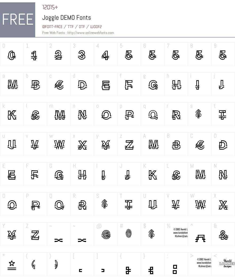 Joggle DEMO Font Screenshots