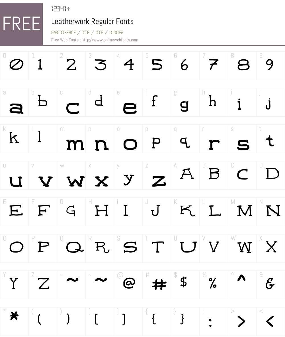 Leatherwork Font Screenshots
