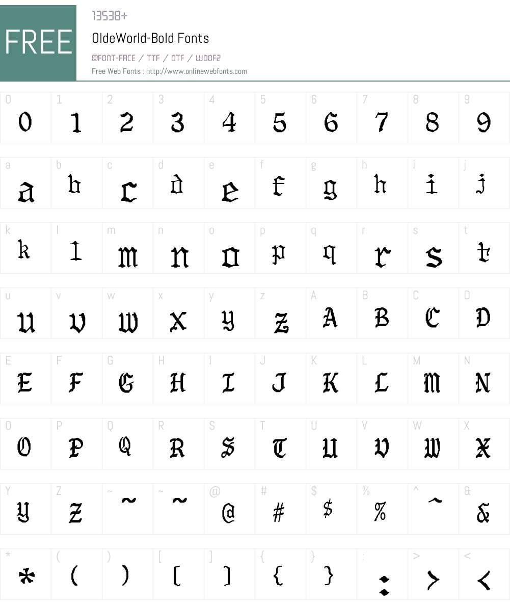 OldeWorld-Bold Font Screenshots
