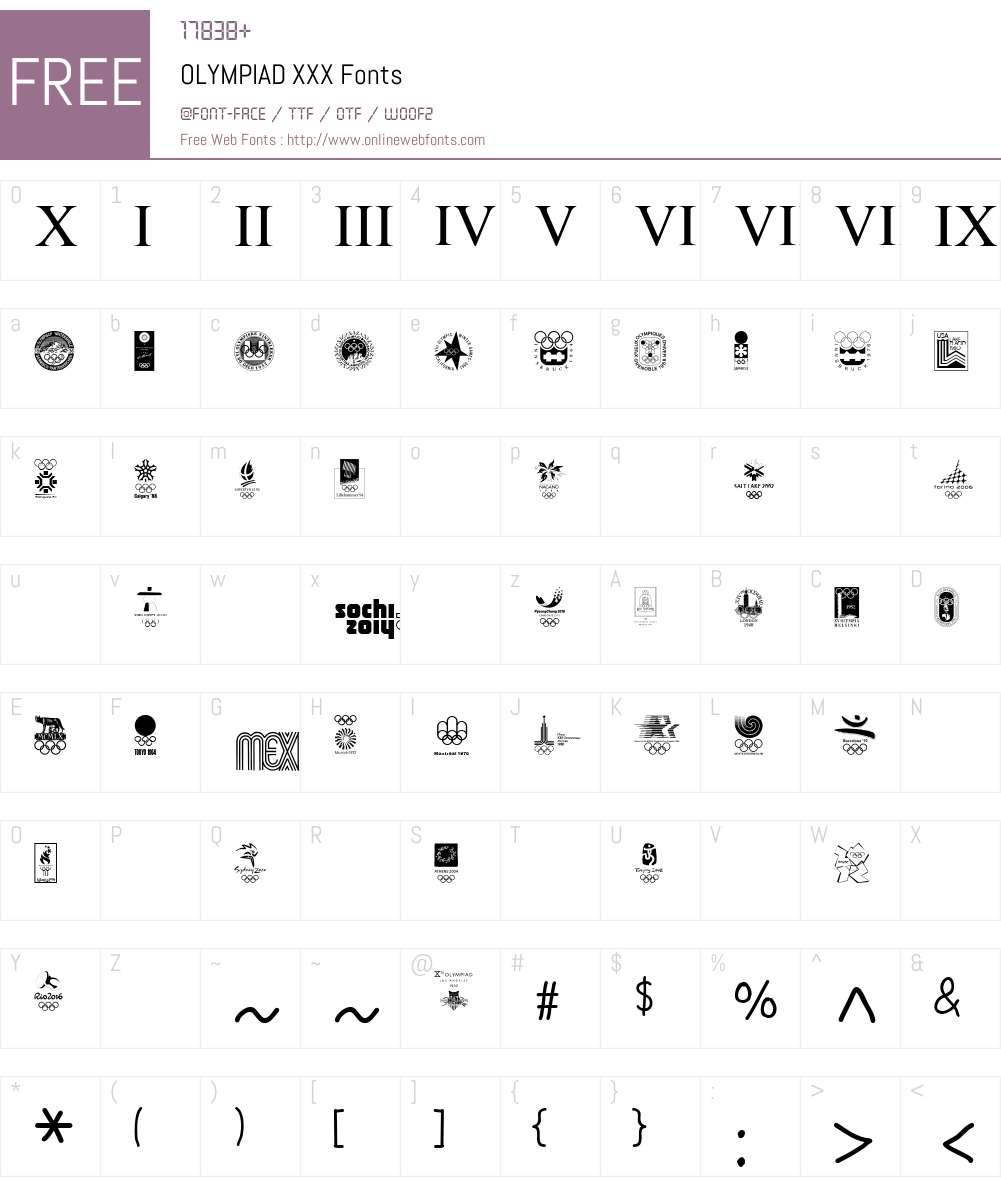 OLYMPIAD XXX Font Screenshots