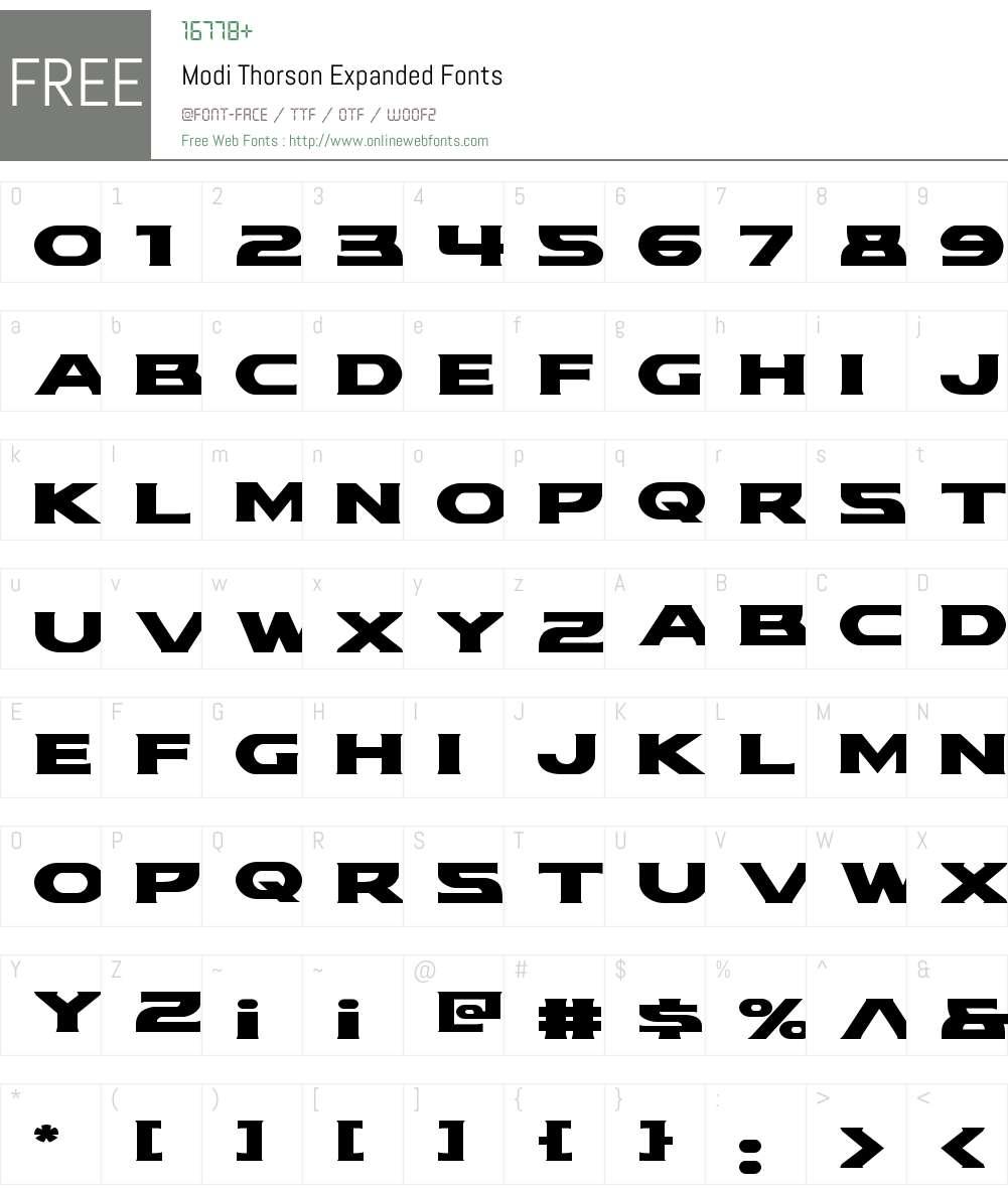 Modi Thorson Expanded Font Screenshots