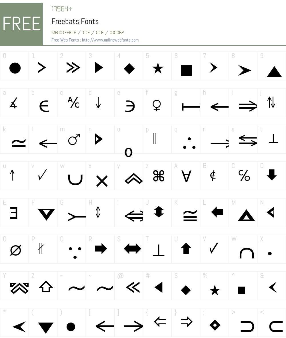 Freebats Font Screenshots