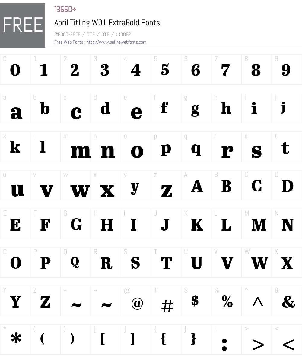 AbrilTitlingW01-ExtraBold Font Screenshots