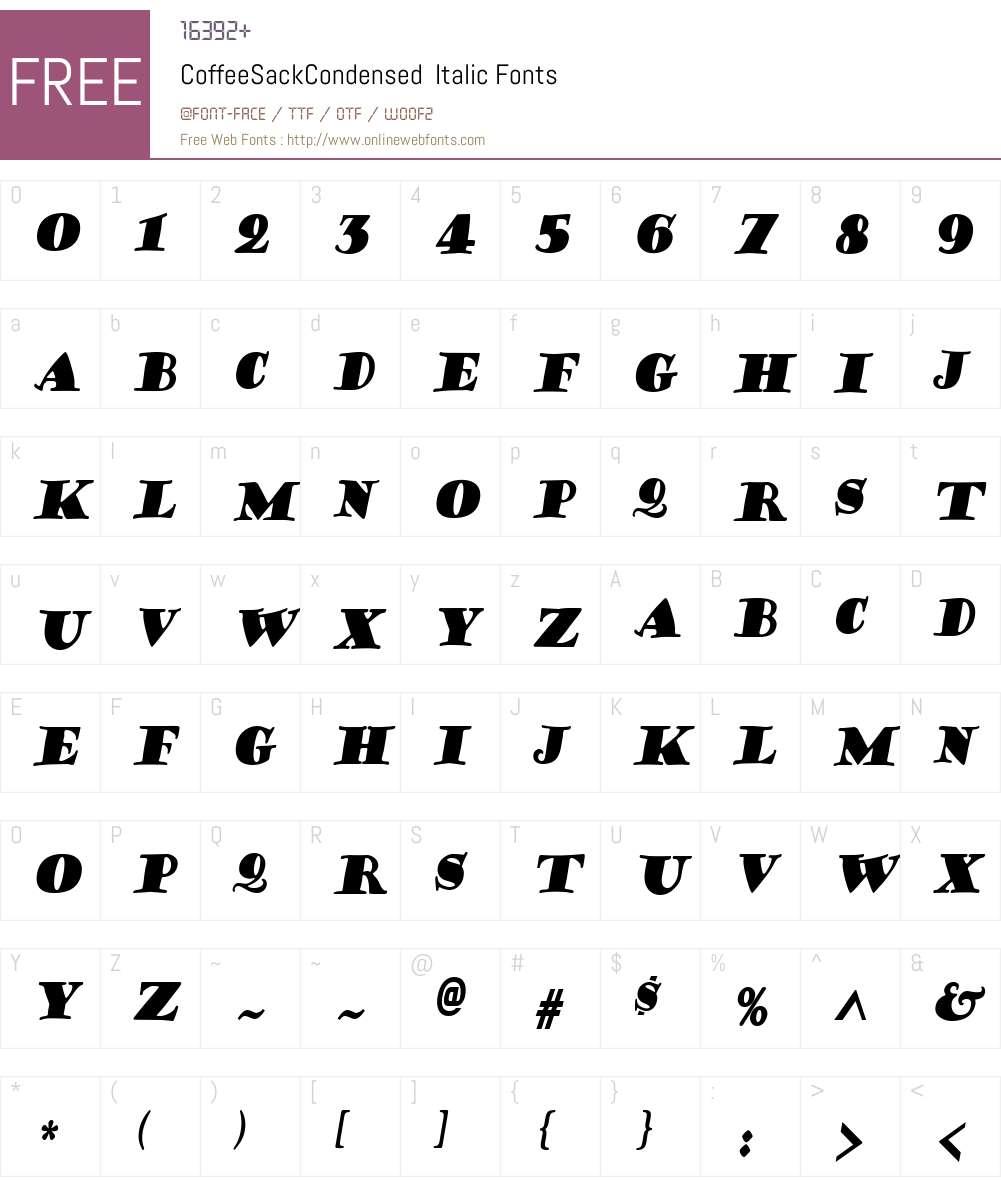 CoffeeSackCondensed Font Screenshots