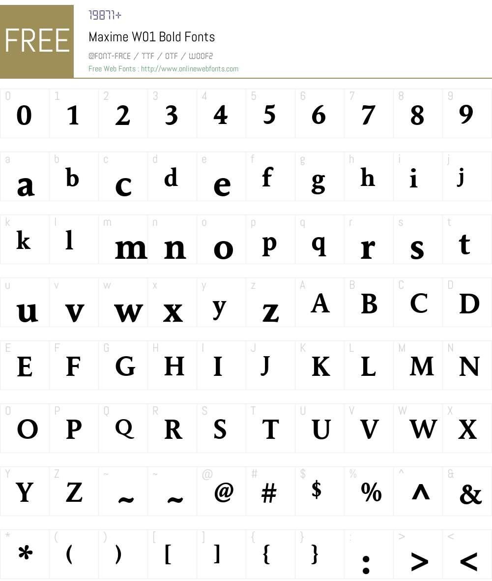 MaximeW01-Bold Font Screenshots