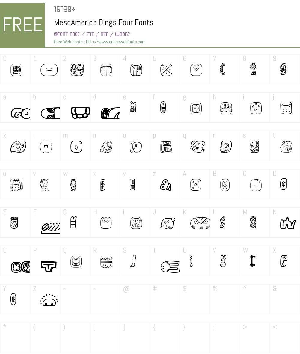 MesoAmerica Dings Four Font Screenshots