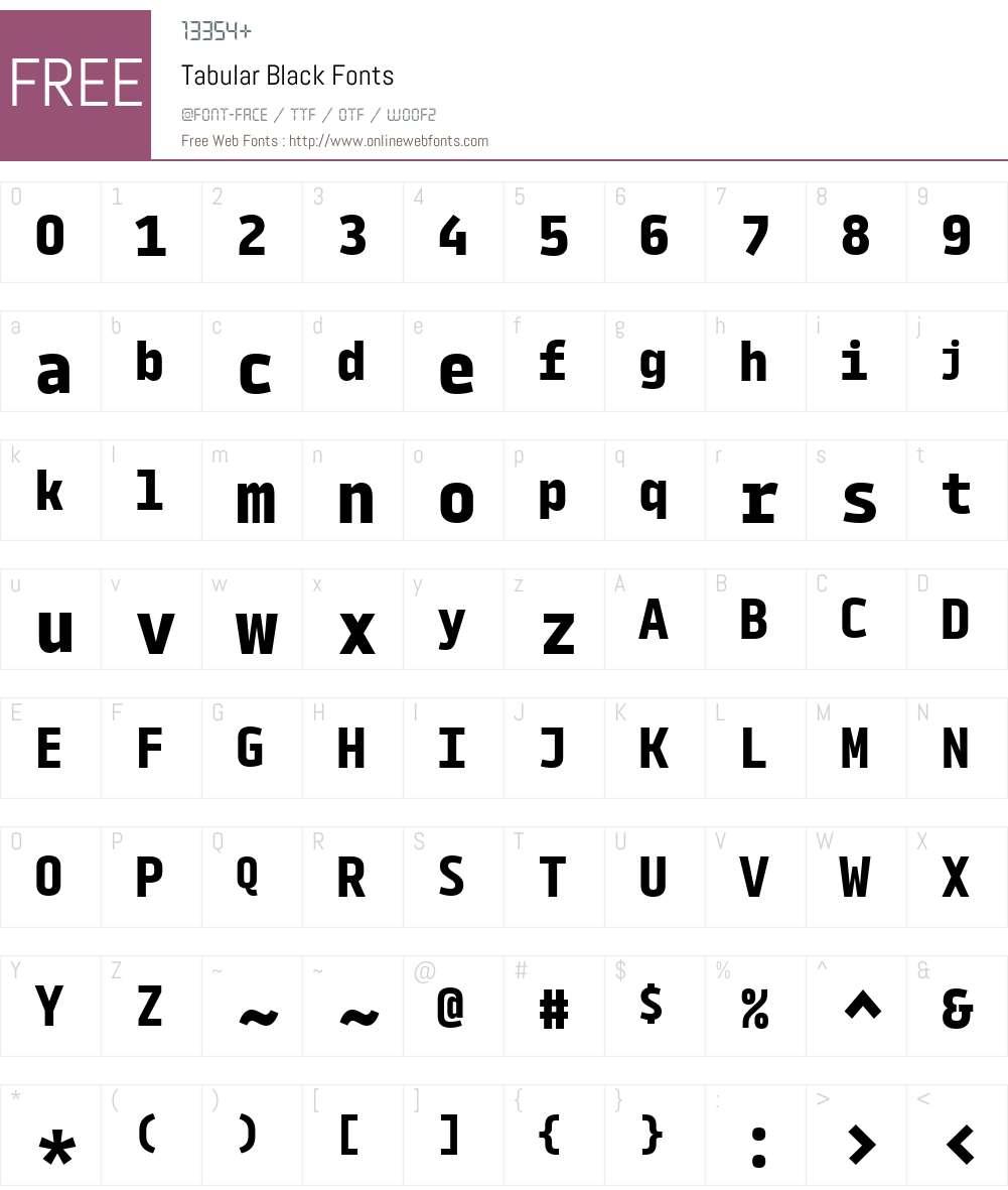 Tabular-Black Font Screenshots