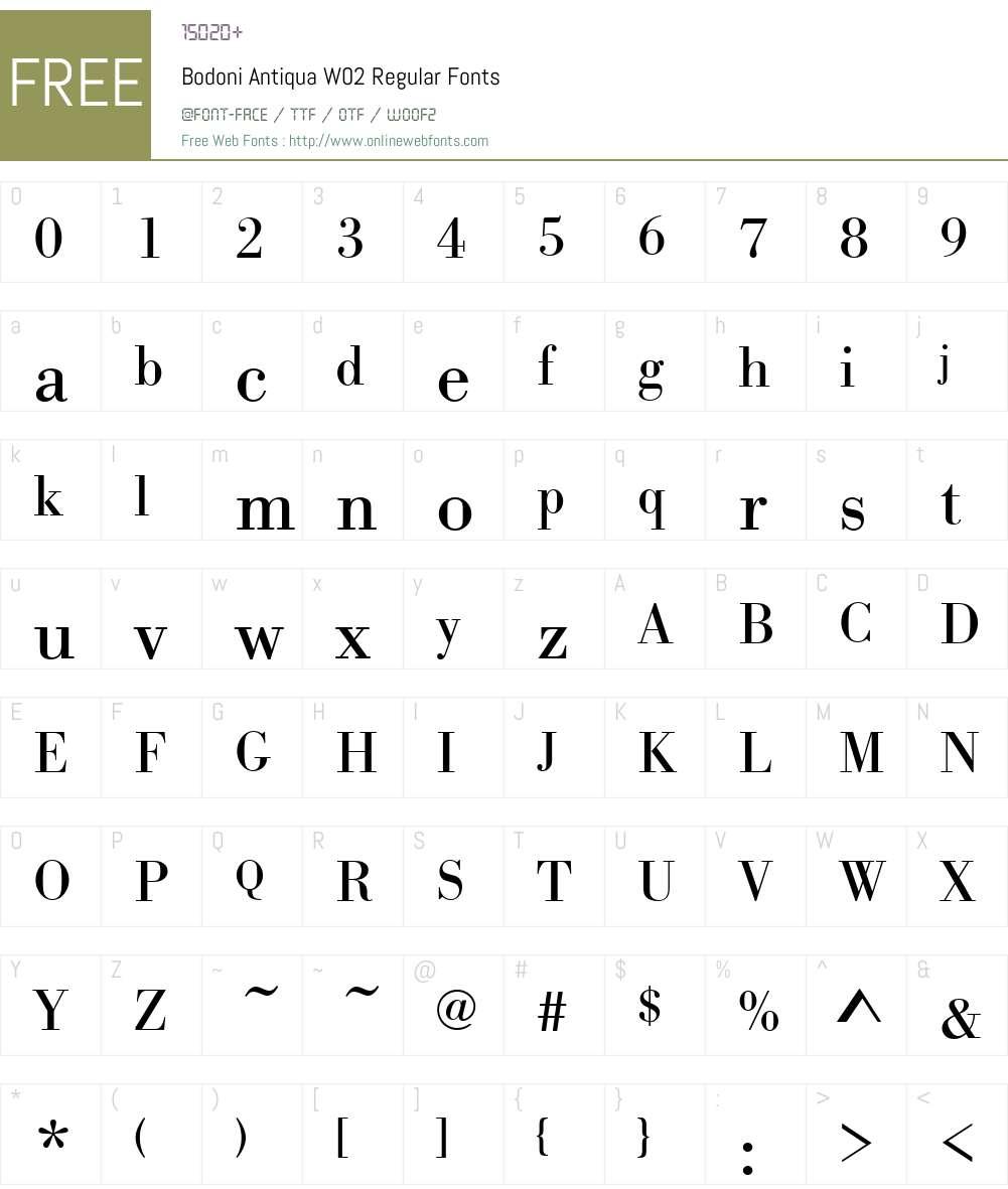 Bodoni Antiqua Font Screenshots