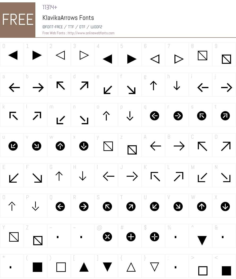 Klavika Arrows Font Screenshots