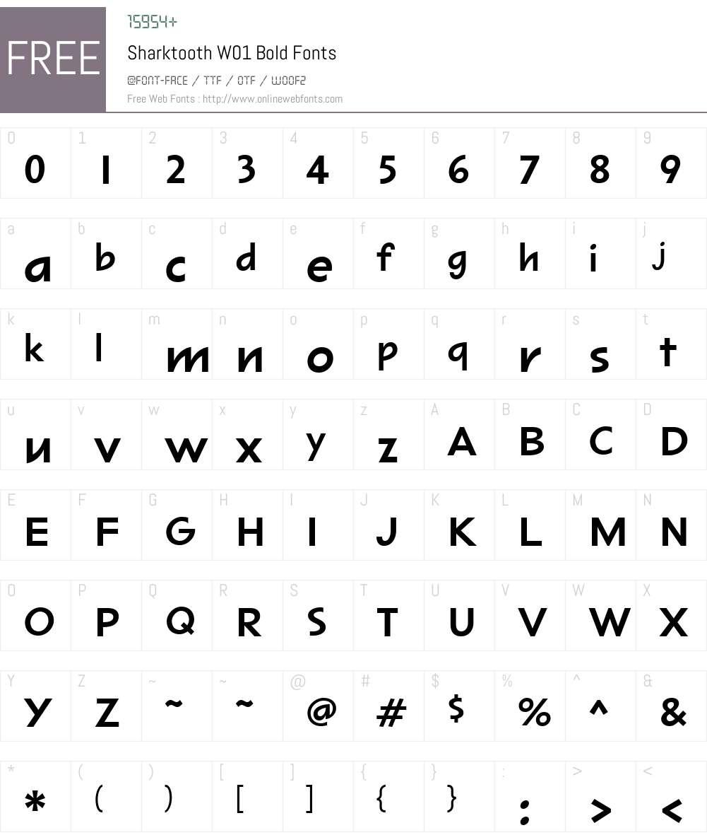SharktoothW01-Bold Font Screenshots