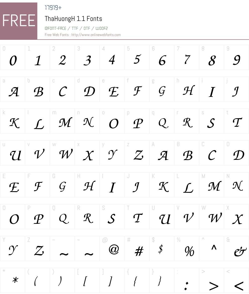 ThaHuongH 1.1 Font Screenshots