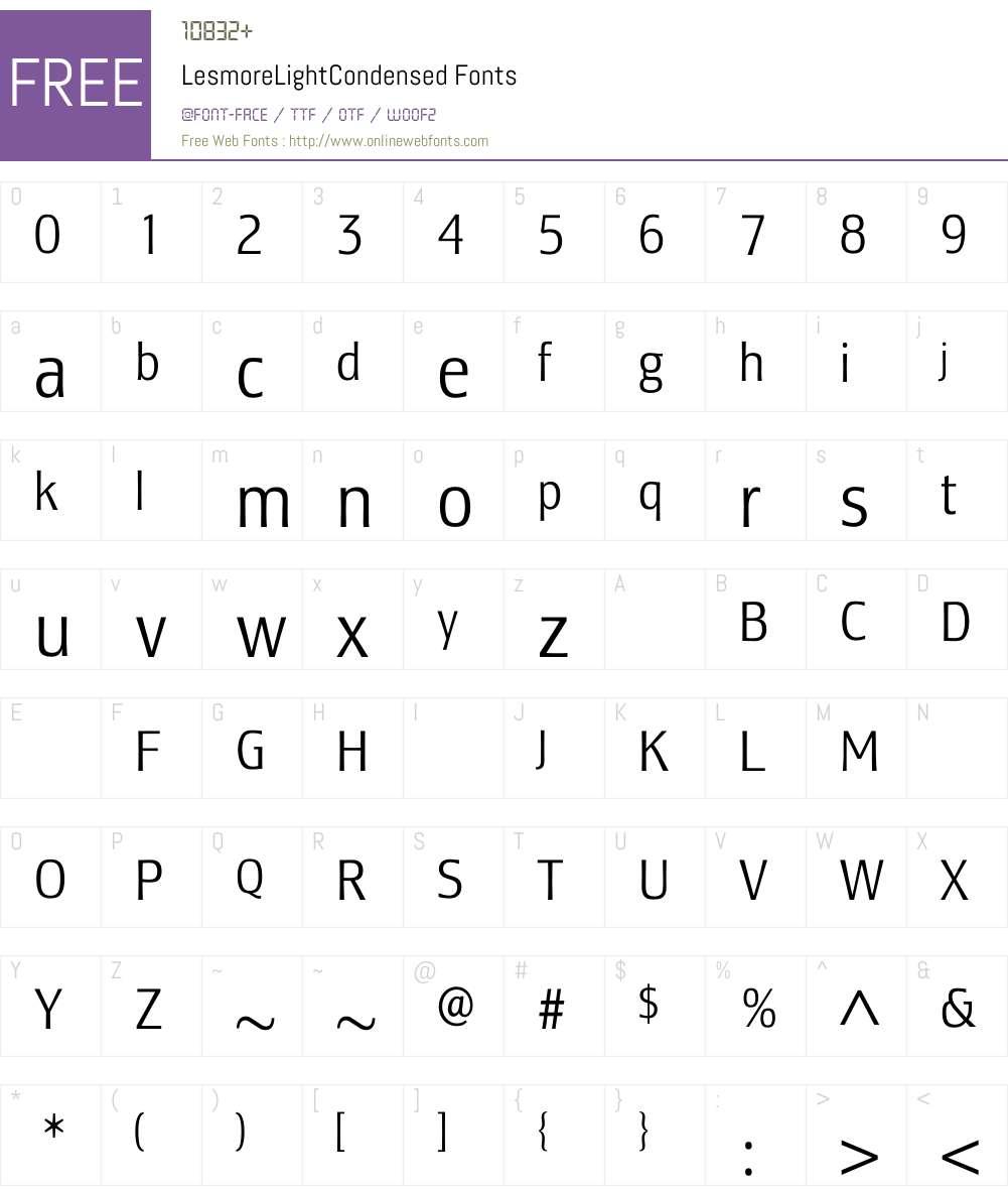 LesmoreLightCondensed Font Screenshots