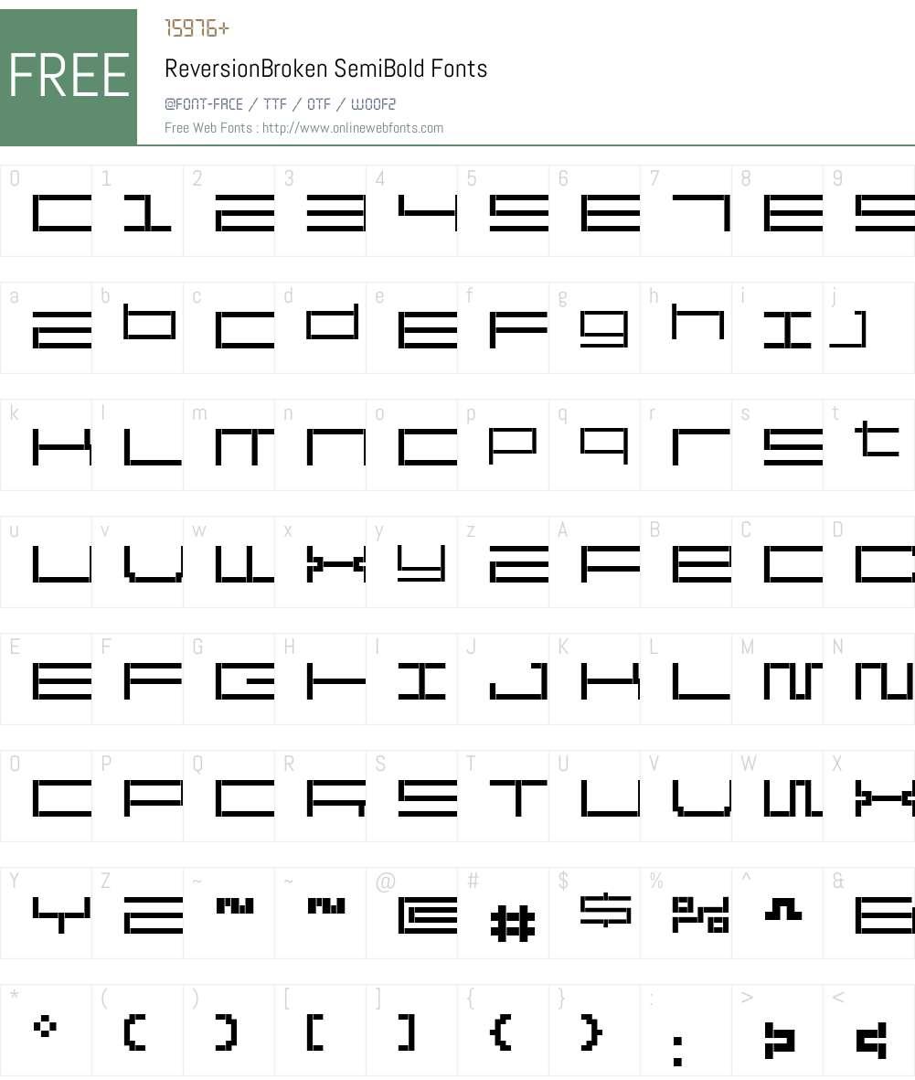 ReversionBroken Font Screenshots