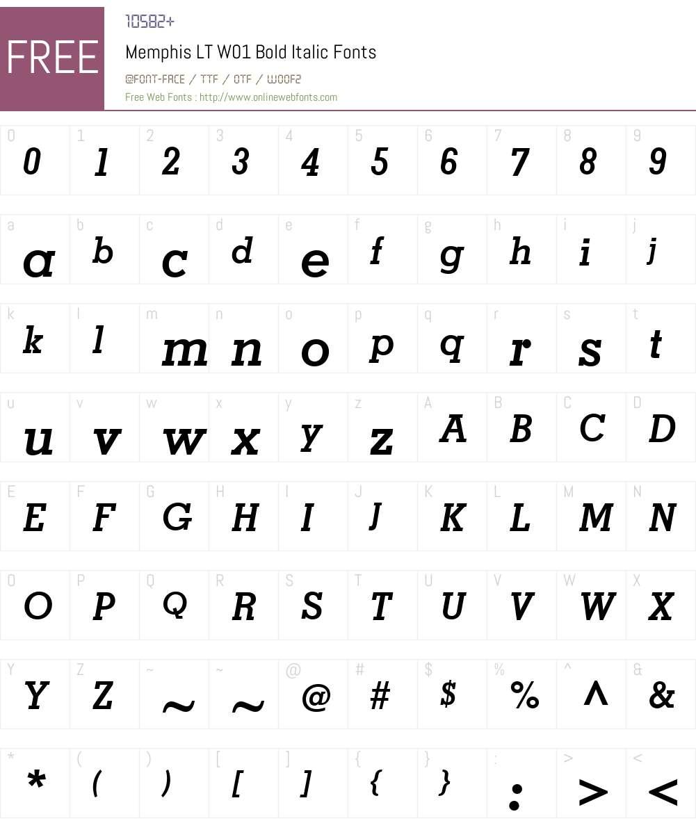 MemphisLTW01-BoldItalic Font Screenshots