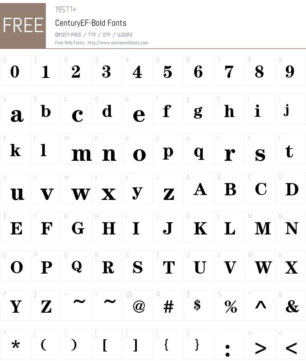CenturyEF-Bold Font Screenshots
