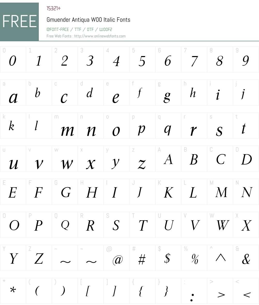 GmuenderAntiquaW00-Italic Font Screenshots