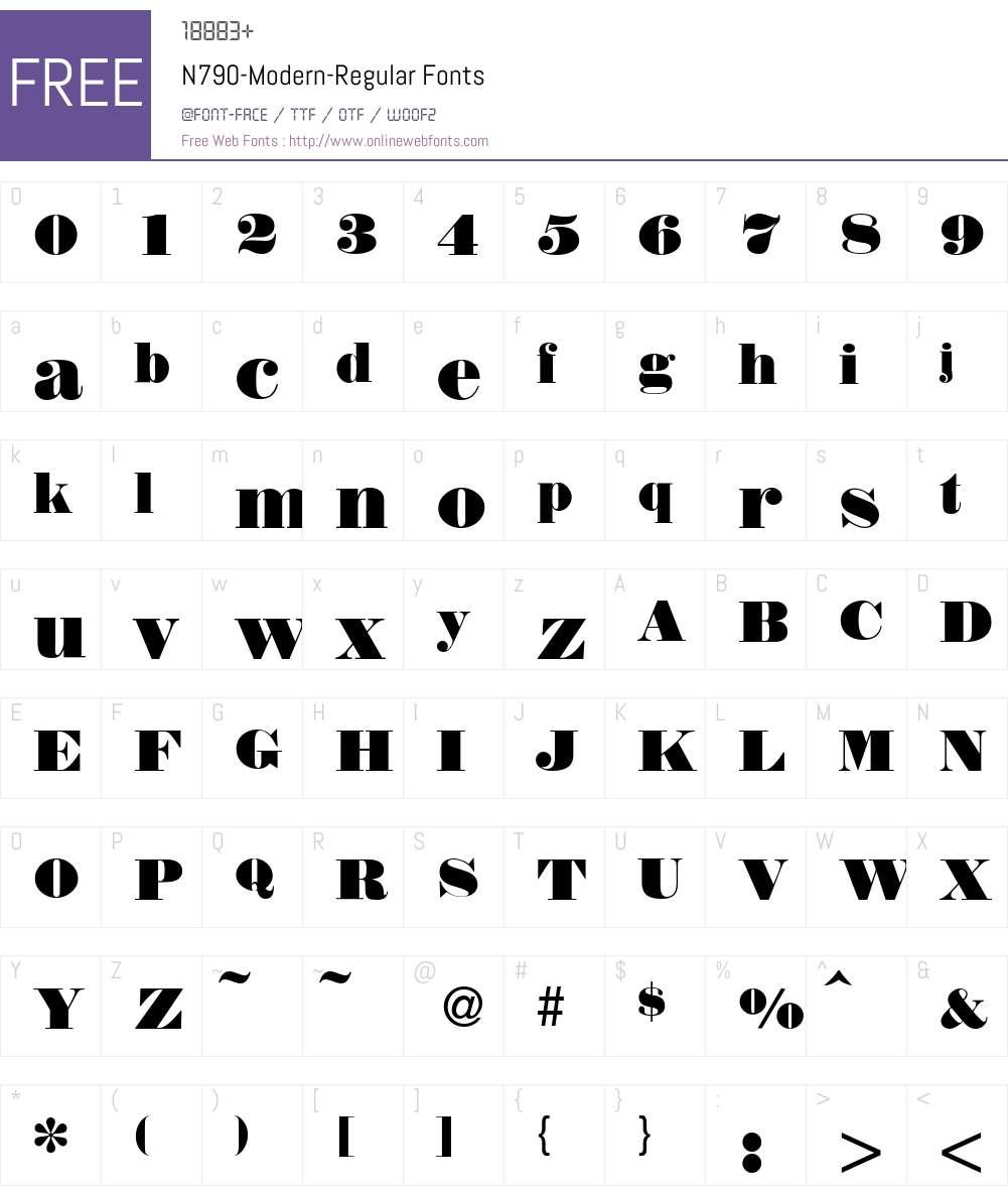 N790-Modern Font Screenshots