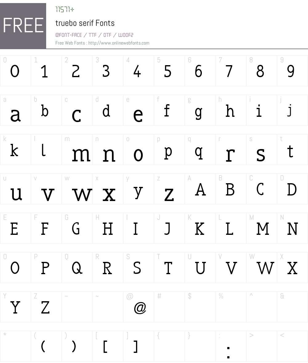 truebo serif Font Screenshots