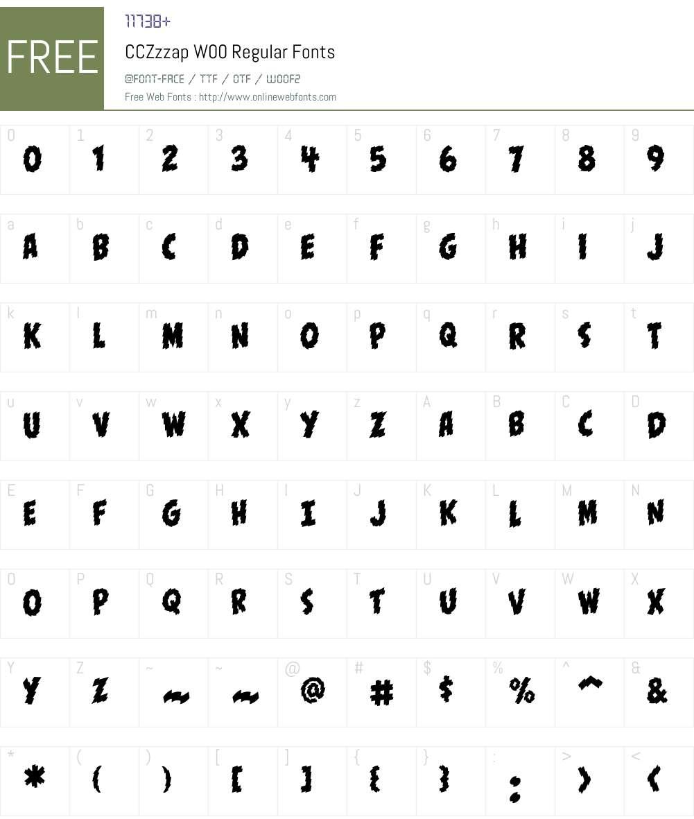 CCZzzapW00-Regular Font Screenshots
