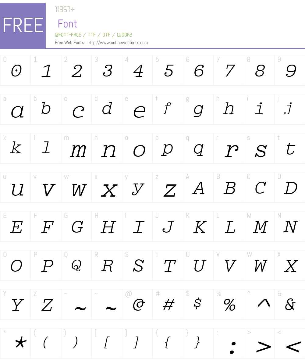 BriemMonoW00-Oblique Font Screenshots