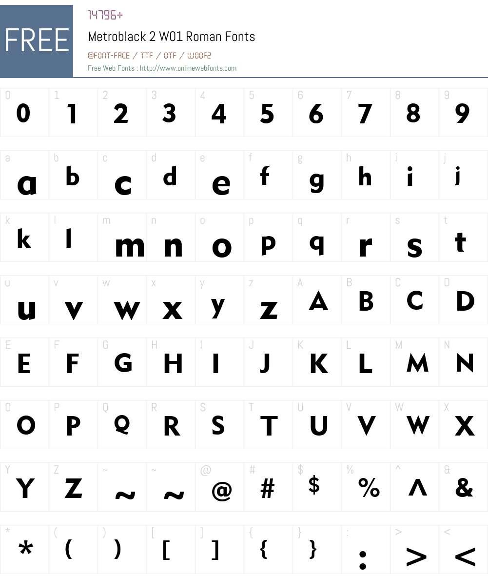 Metroblack2W01-Roman Font Screenshots