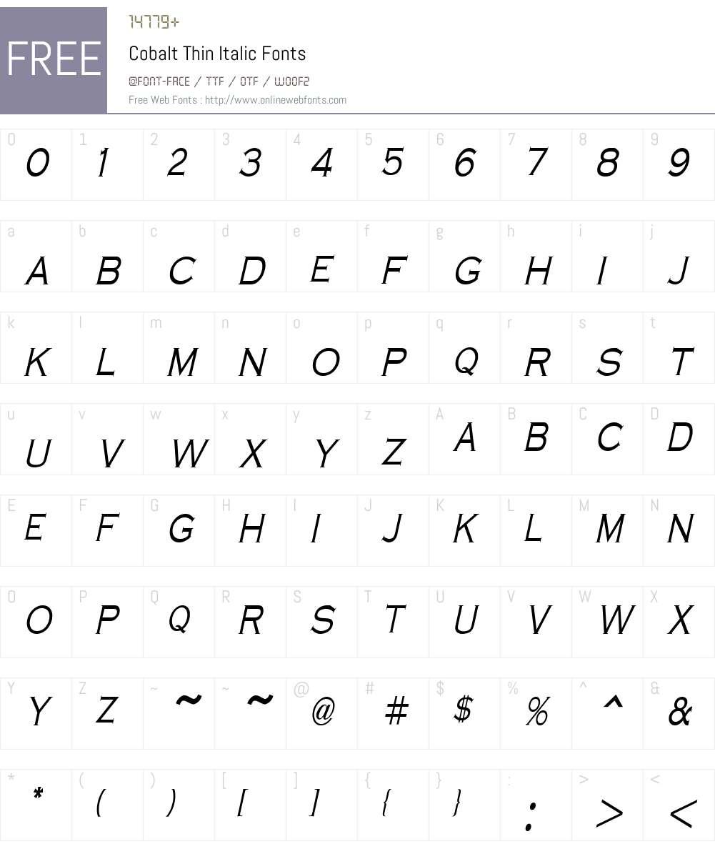 Cobalt Thin Font Screenshots