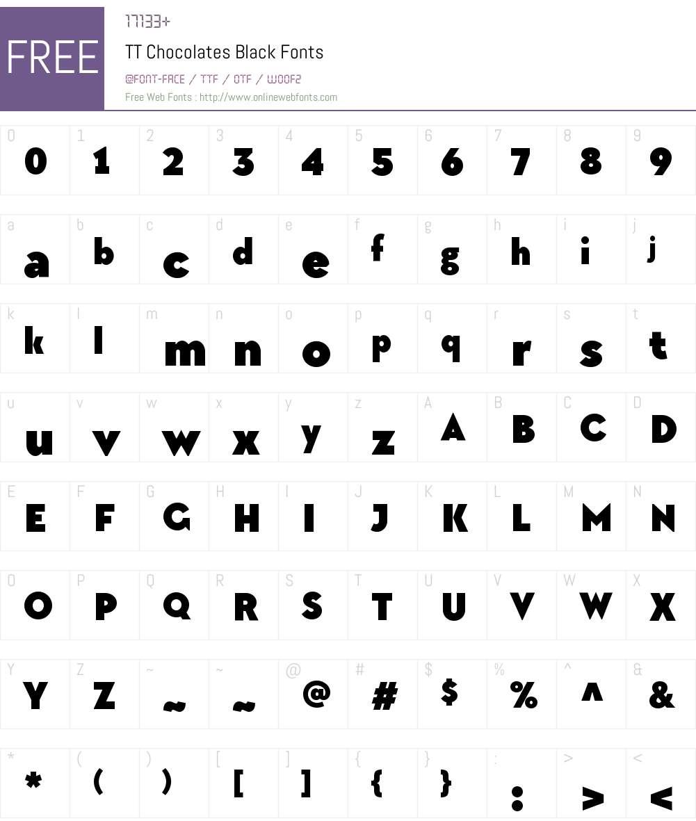 TTChocolates-Black Font Screenshots