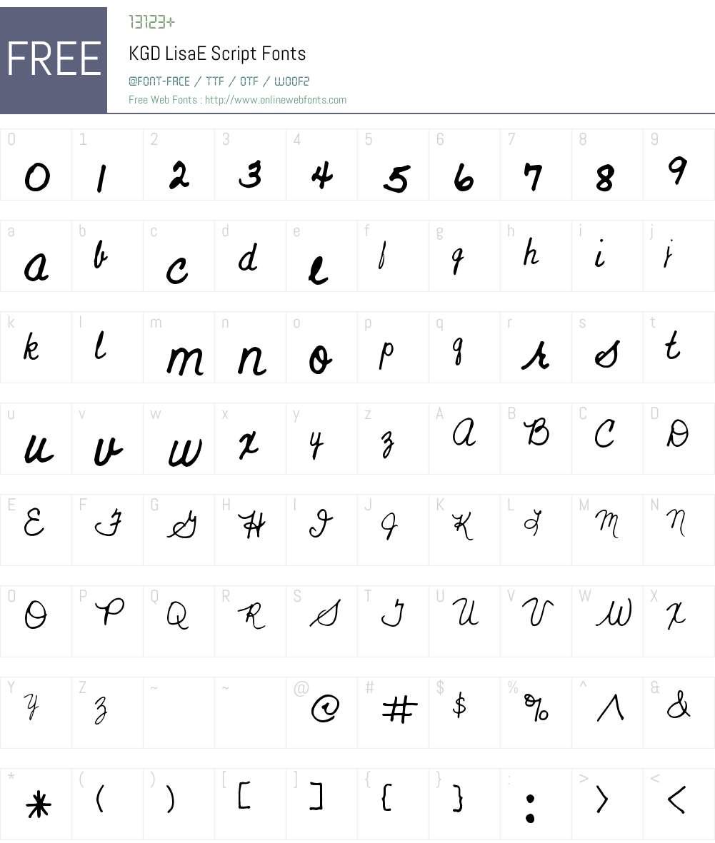 KGD LisaE Script Font Screenshots