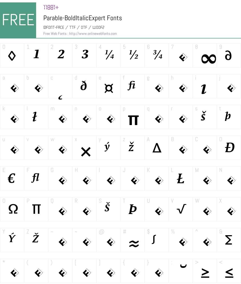 Parable-BoldItalicExpert Font Screenshots
