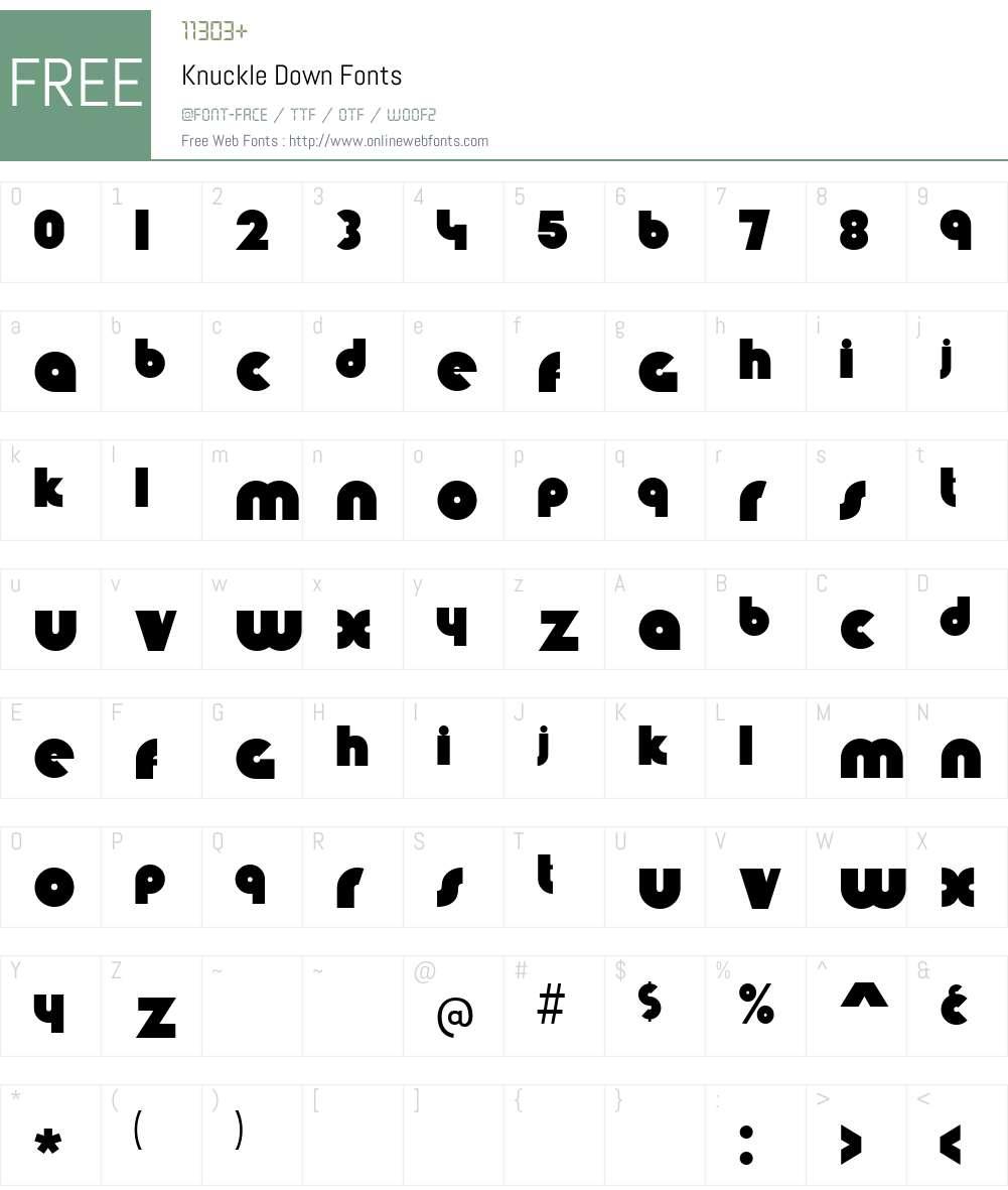 Knuckle Down Font Screenshots