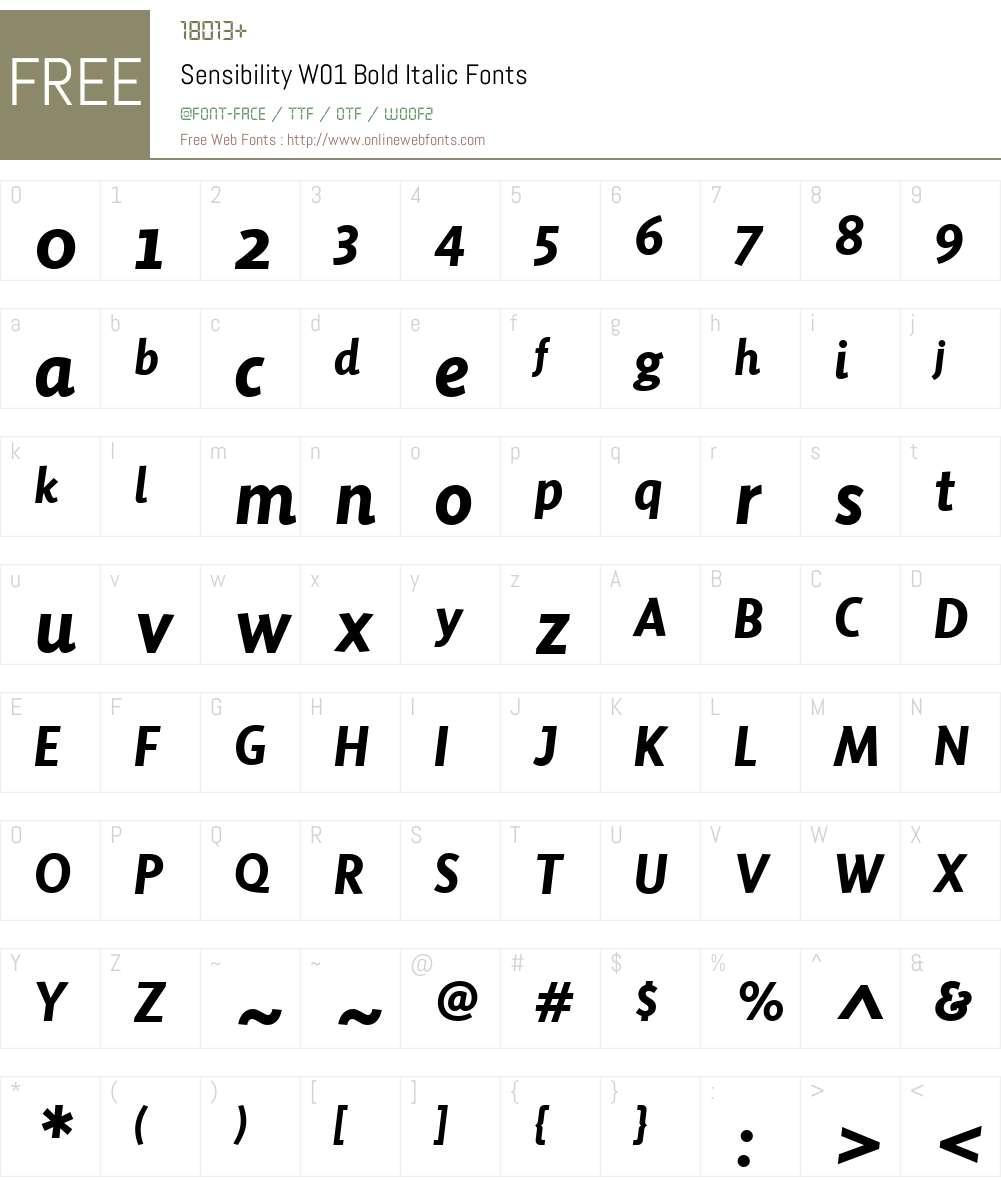 SensibilityW01-BoldItalic Font Screenshots