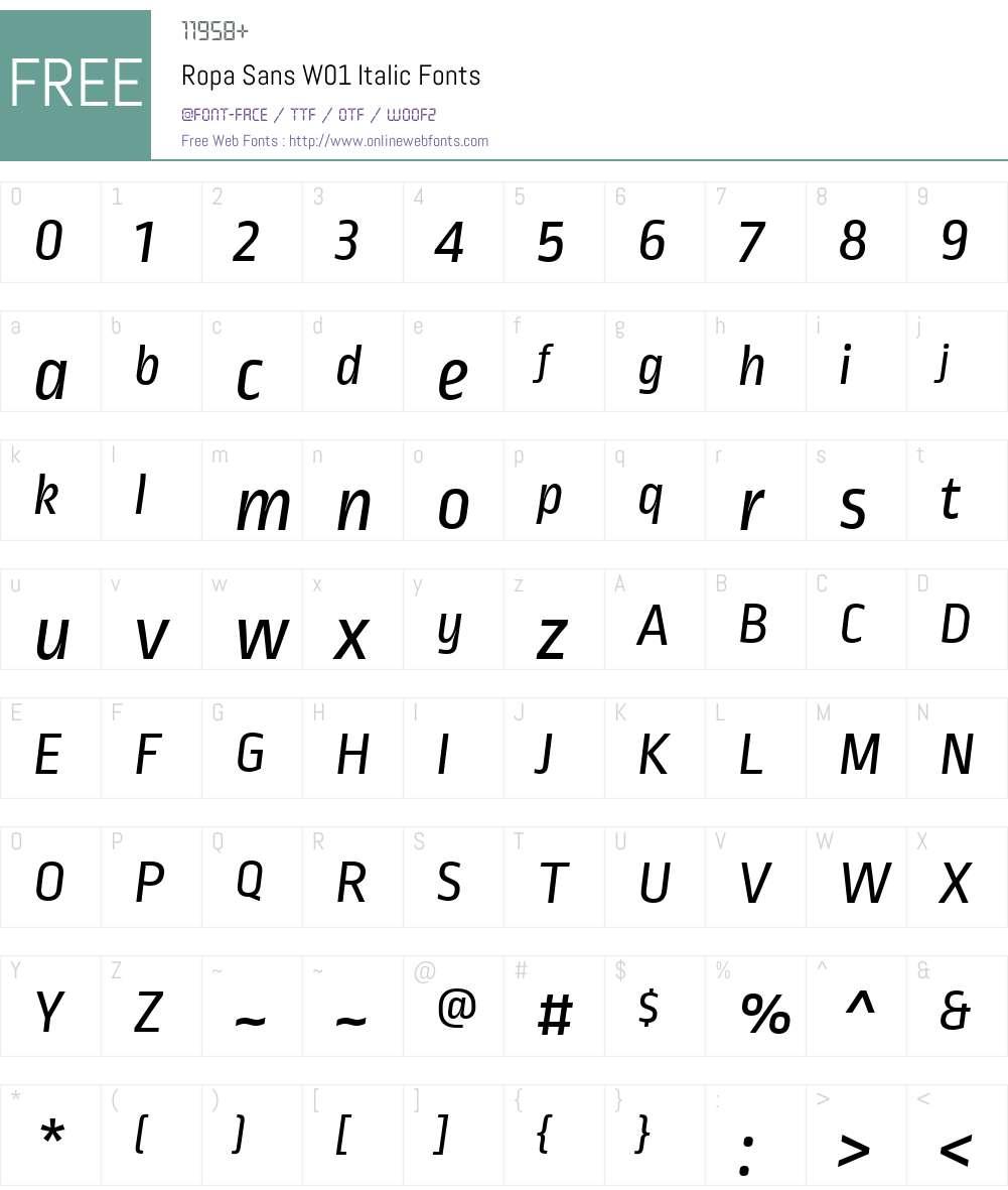 RopaSansW01-Italic Font Screenshots