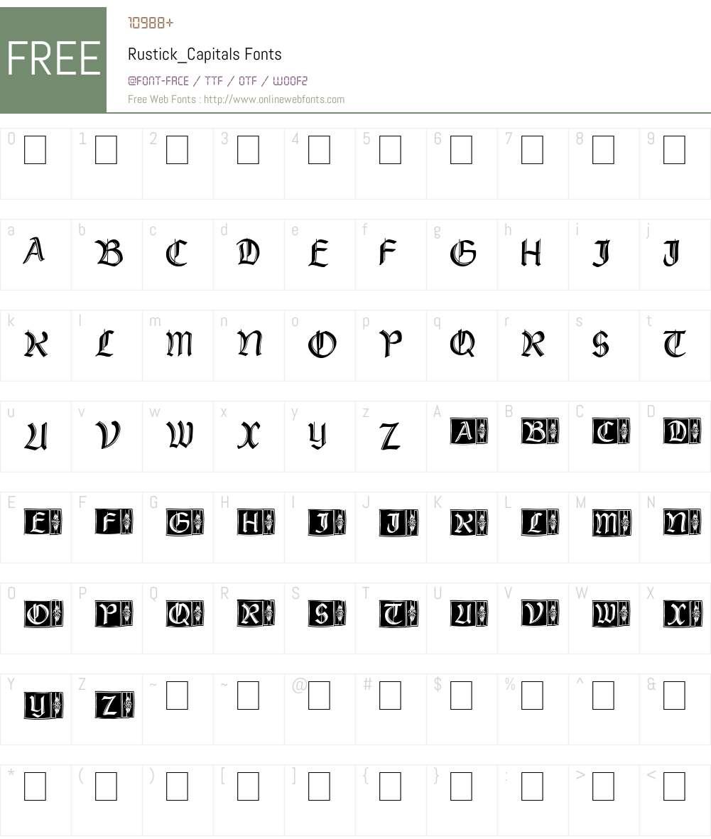 Rustick_Capitals Font Screenshots
