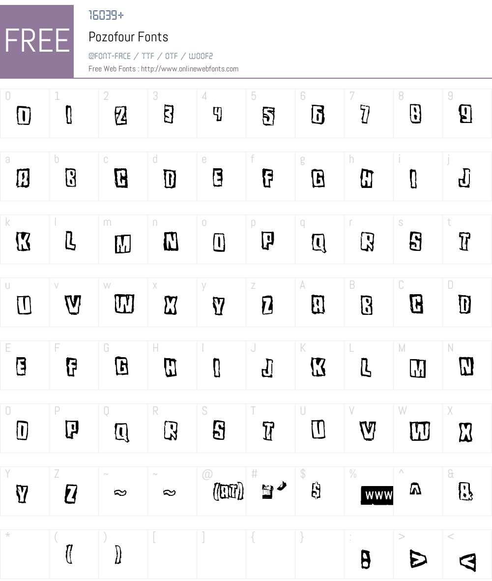 Pozofour Font Screenshots