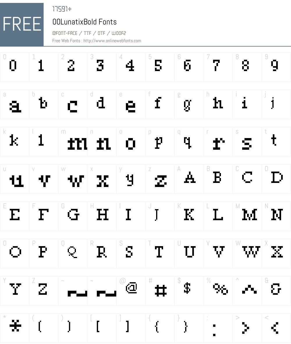00Lunatix Font Screenshots