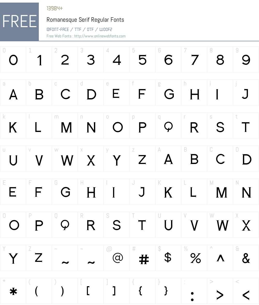 Romanesque Serif Font Screenshots