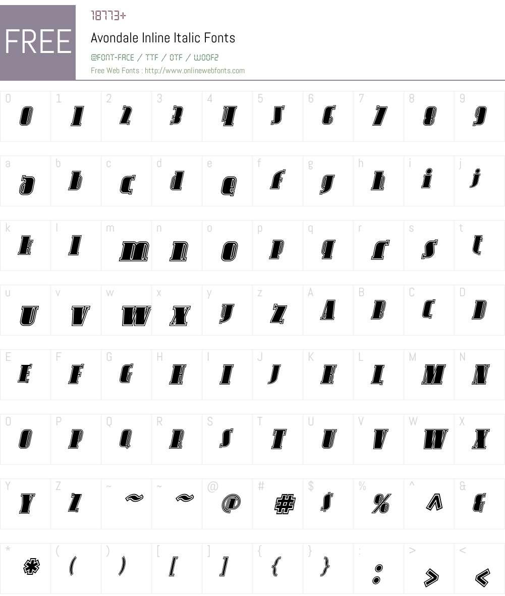 Avondale Inline Font Screenshots