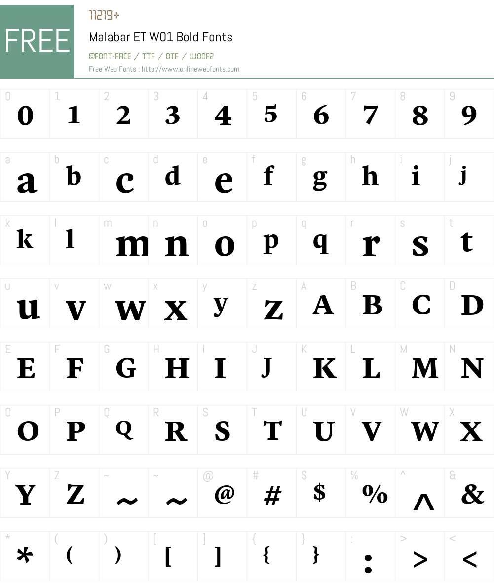 MalabarETW01-Bold Font Screenshots