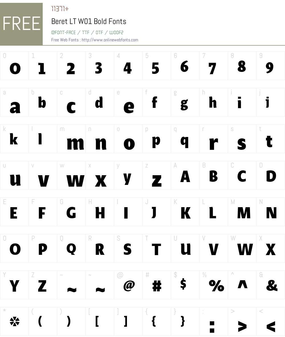 BeretLTW01-Bold Font Screenshots