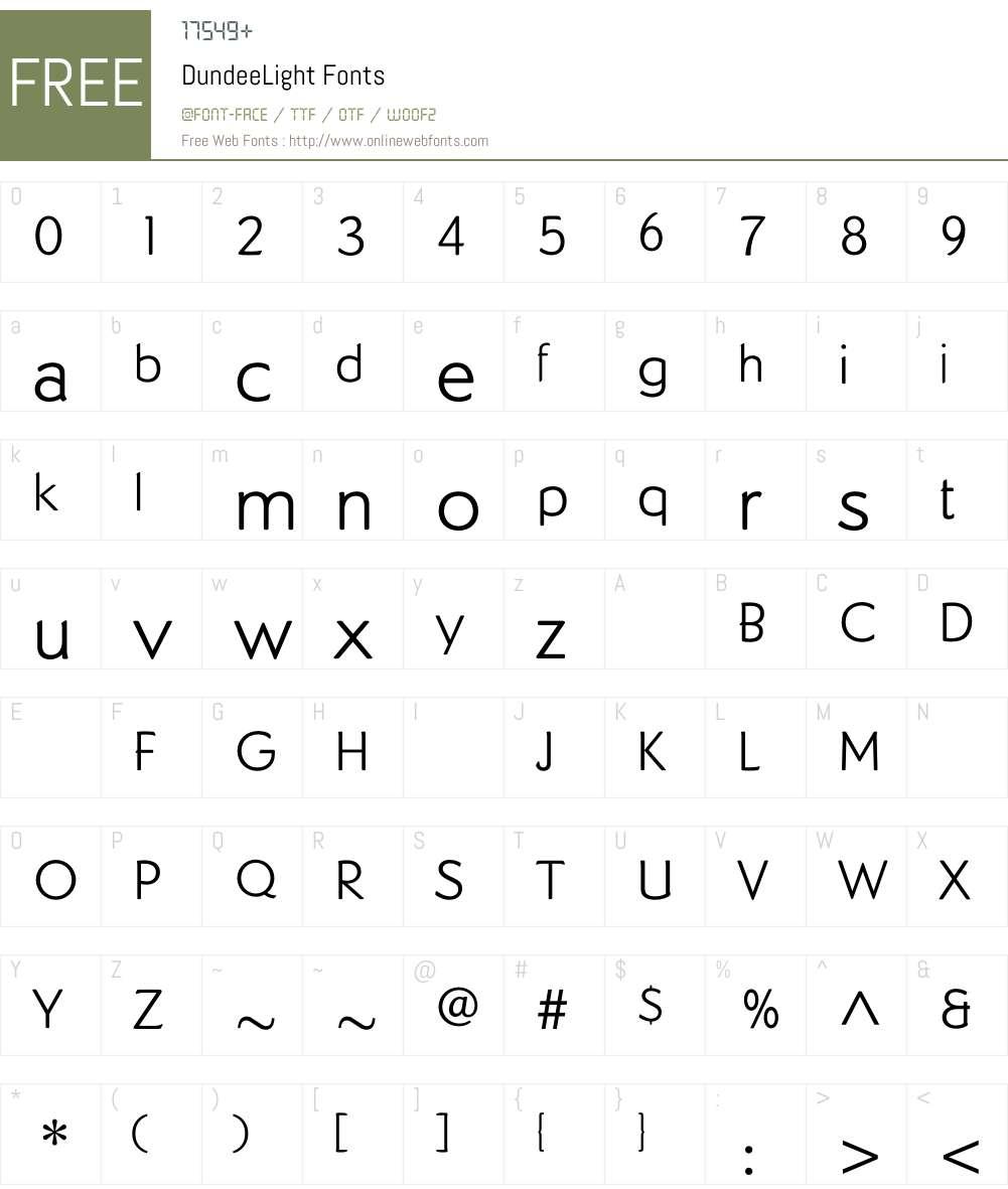 DundeeLight Font Screenshots