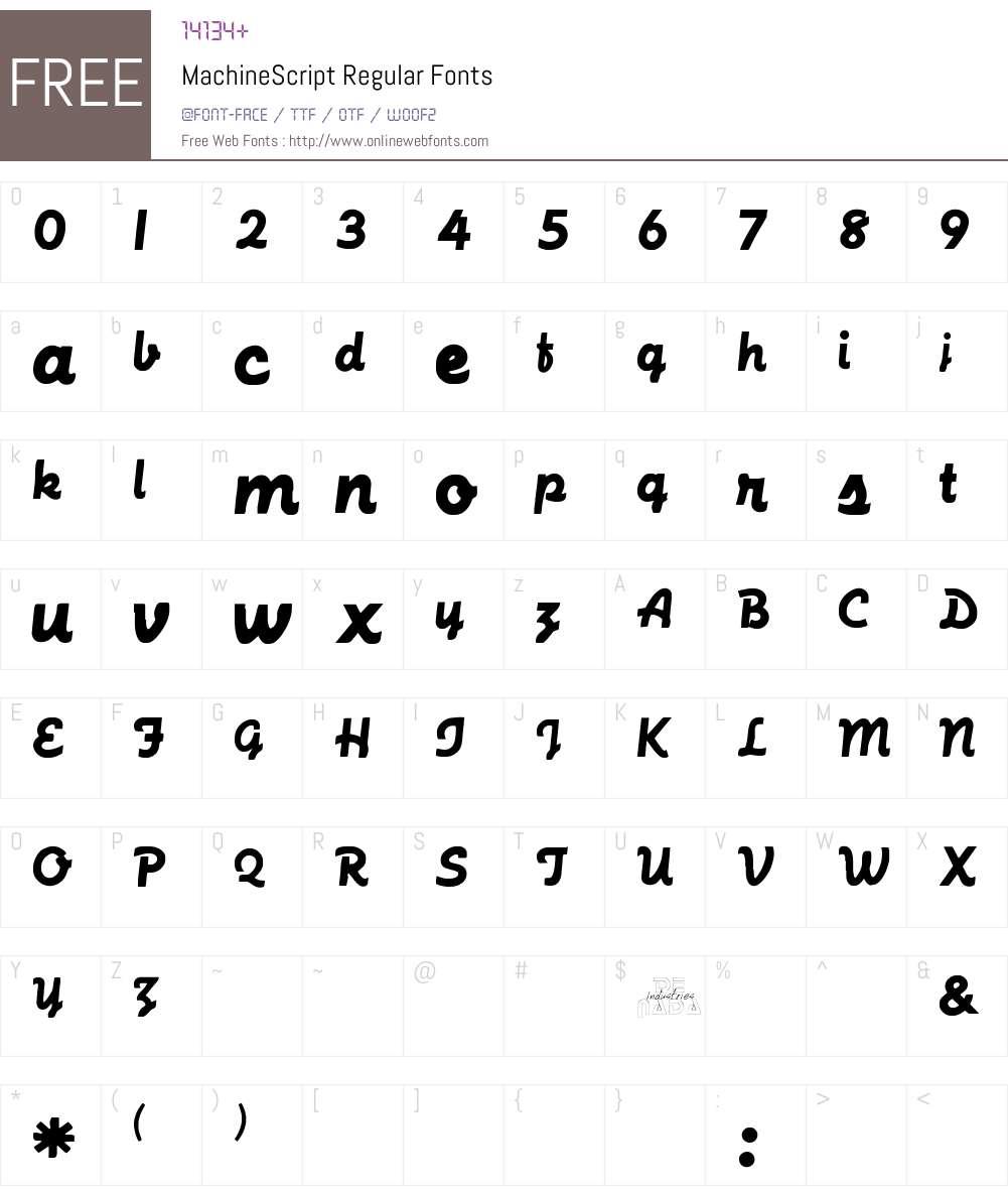 MachineScript Font Screenshots