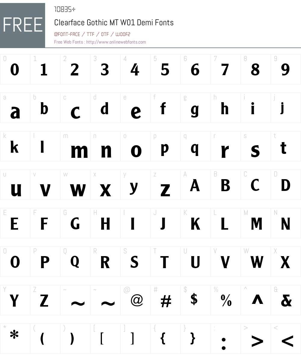 ClearfaceGothicMTW01-Demi Font Screenshots