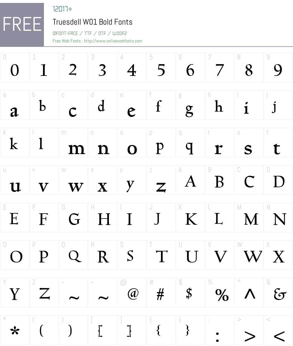 TruesdellW01-Bold Font Screenshots