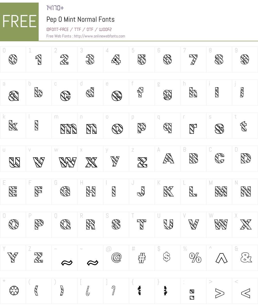 Pep O Mint Normal Font Screenshots