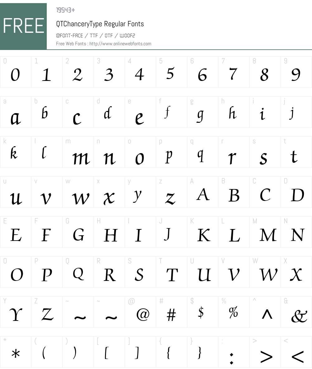 QTChanceryType Font Screenshots