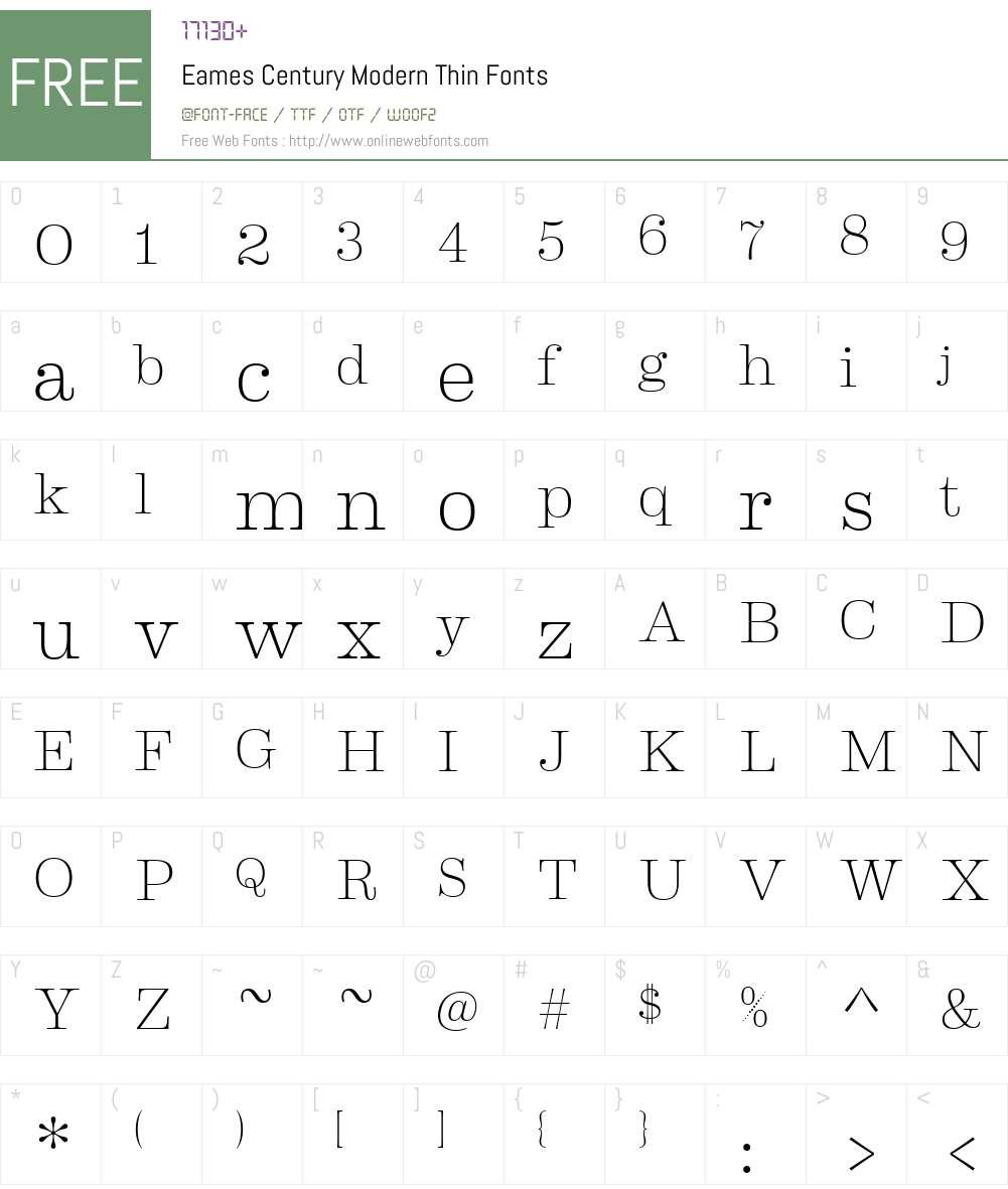 Eames Century Modern Thin Font Screenshots