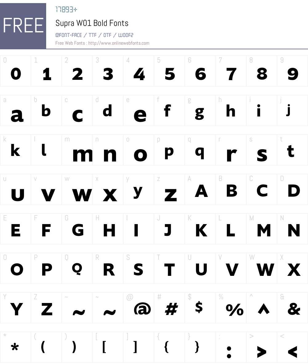 SupraW01-Bold Font Screenshots
