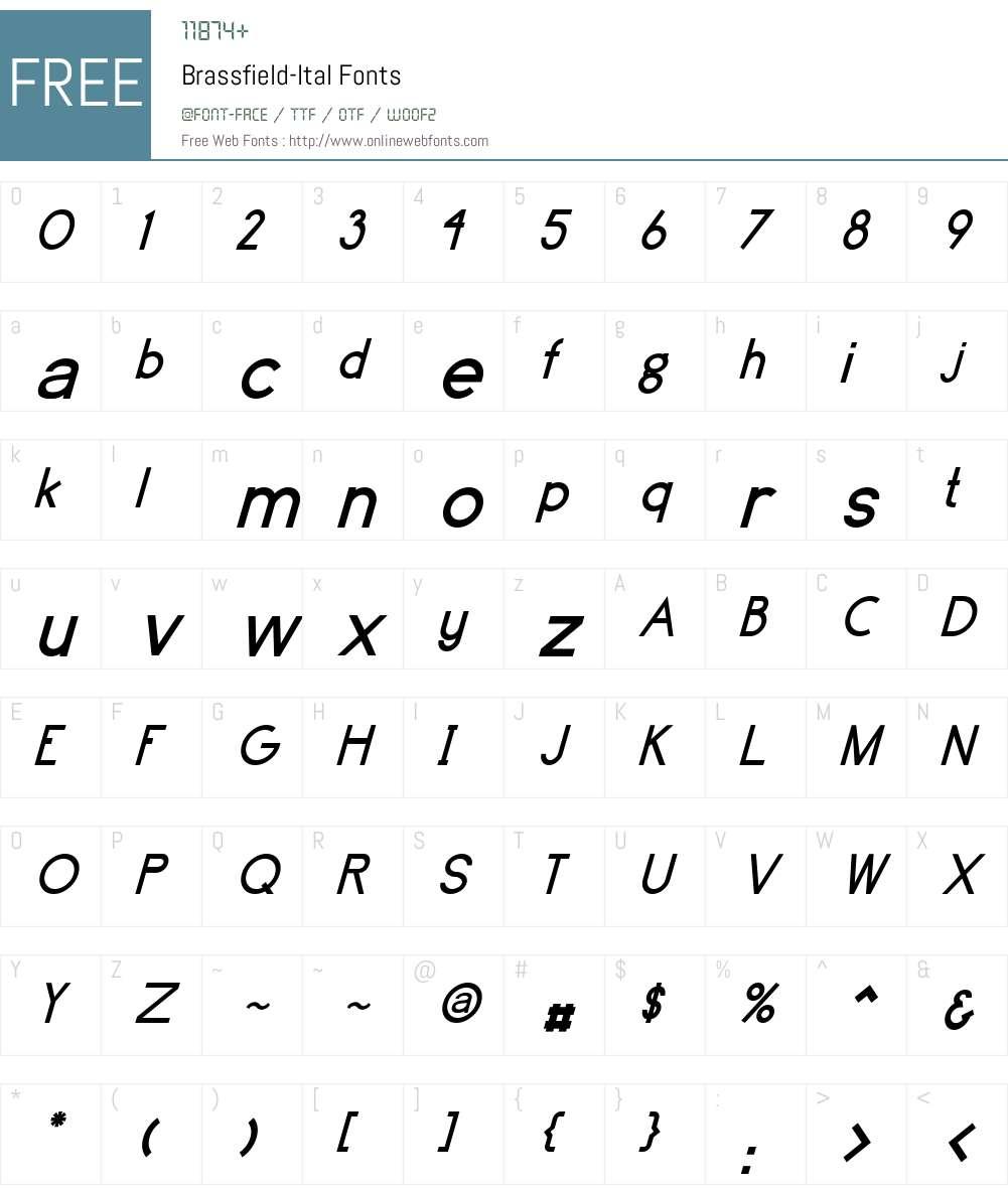 Brassfield-Ital Font Screenshots