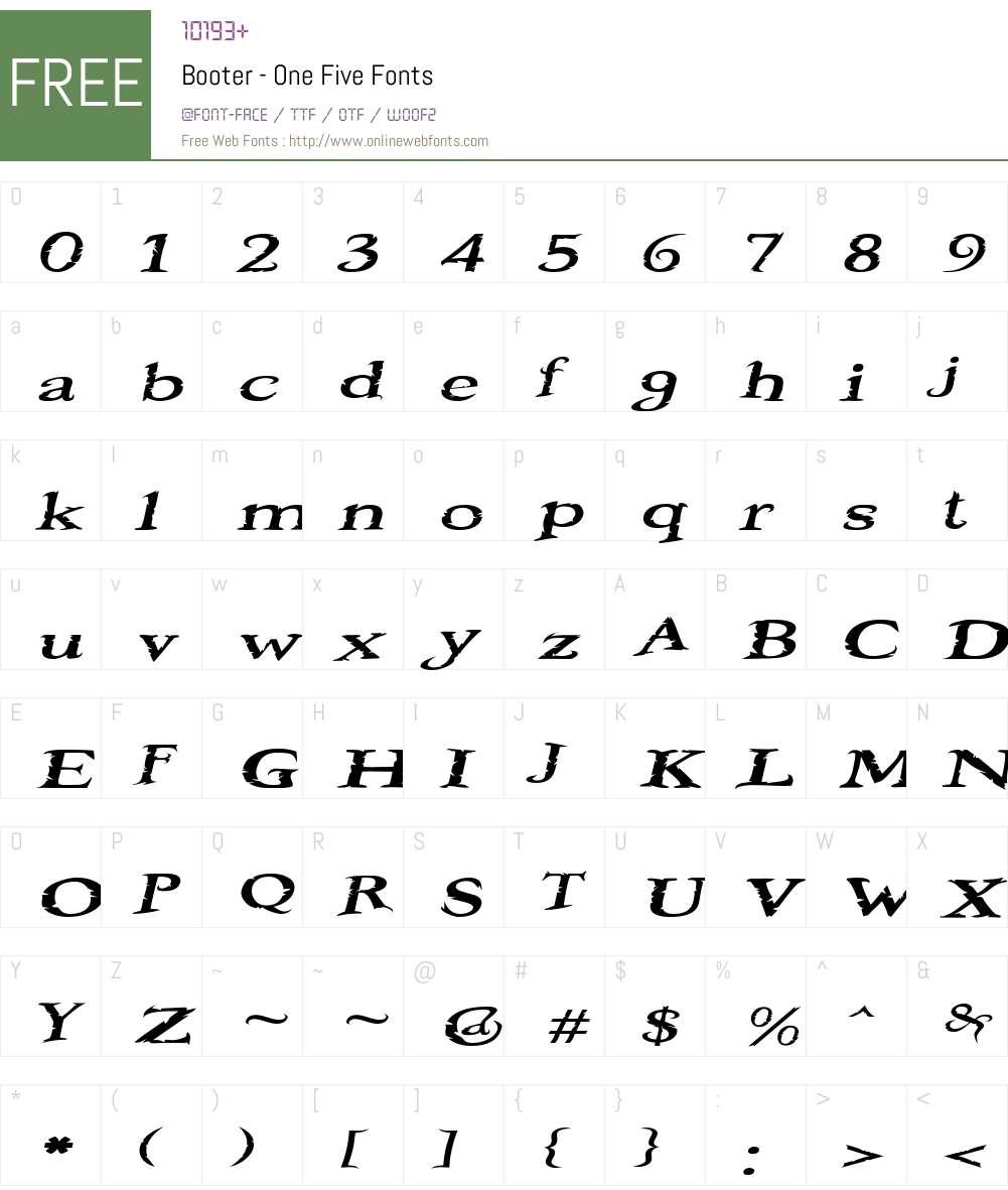 Booter - One Five Font Screenshots