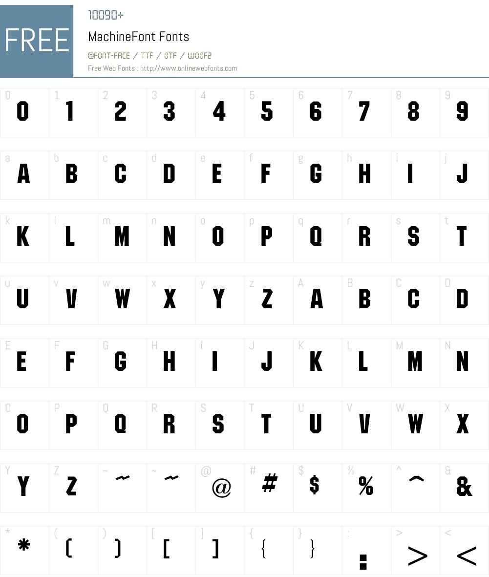 Machine Font Screenshots